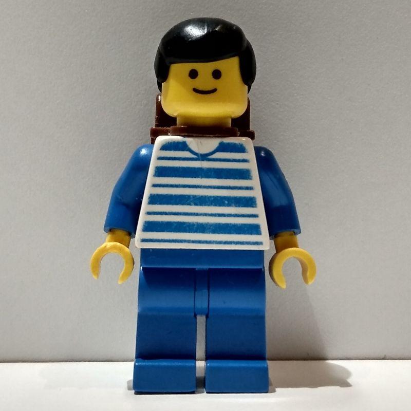 Lego Figure City Train Man Green Vest Brown Backpack trn029 2150