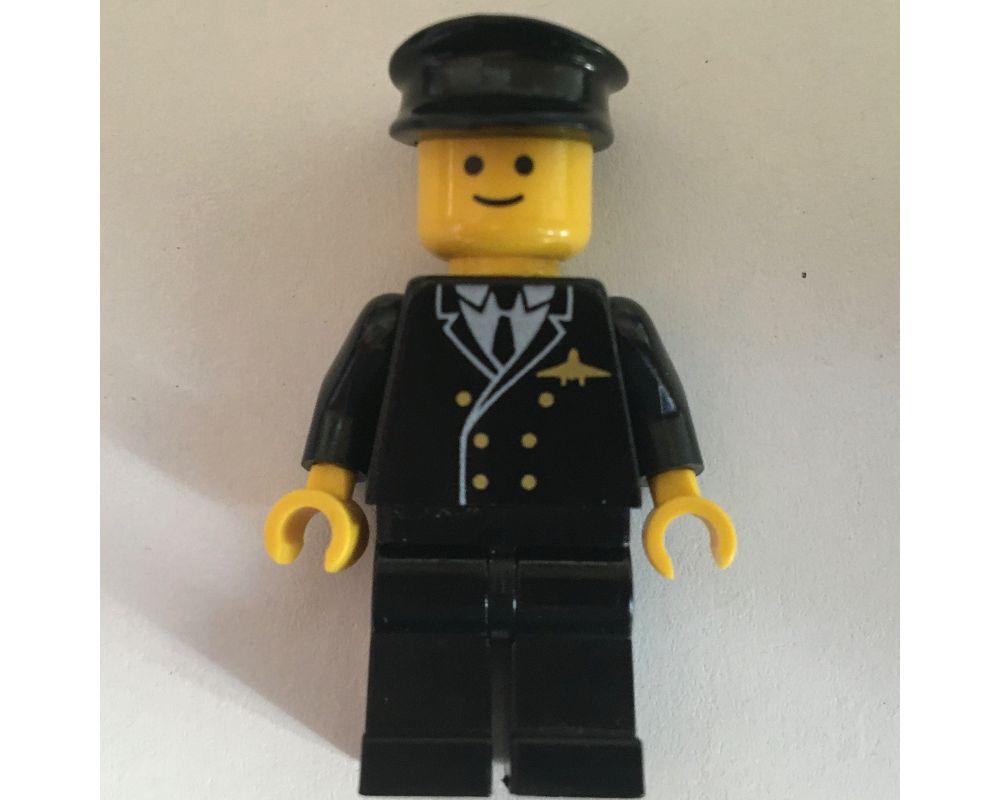 1 x Lego System Torso Upper Body Figurine Airport Pilot Jacket Black 6 Knobs Fl